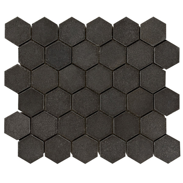 2 Inch Hexagon Honed Light Gray Basalt Mosaic Tile Deko Tile
