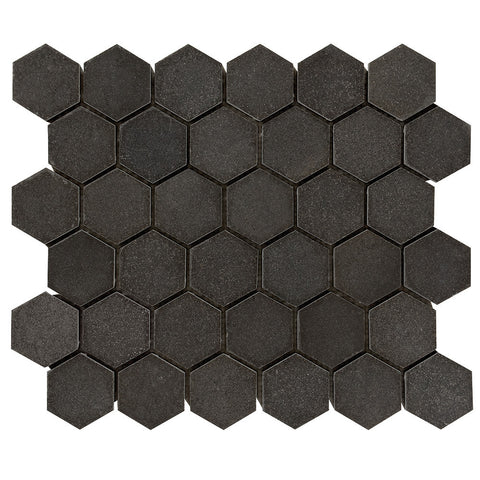 2 inch Hexagon Honed Light Gray Basalt Mosaic Tile - DEKO Tile