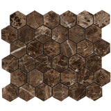 2 inch Hexagon Polished Emperador Dark Mosaic Tile - DEKO Tile