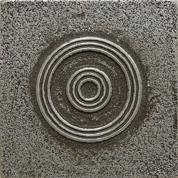 2 X 2 Circles Decorative Metal Insert Pewter Deko Tile