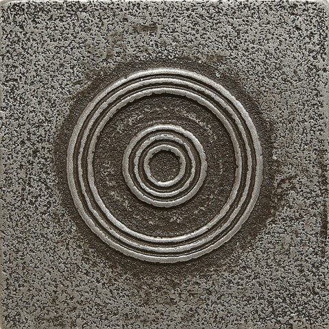 2 x 2 Circles Decorative Metal Insert - Pewter  - DEKO Tile