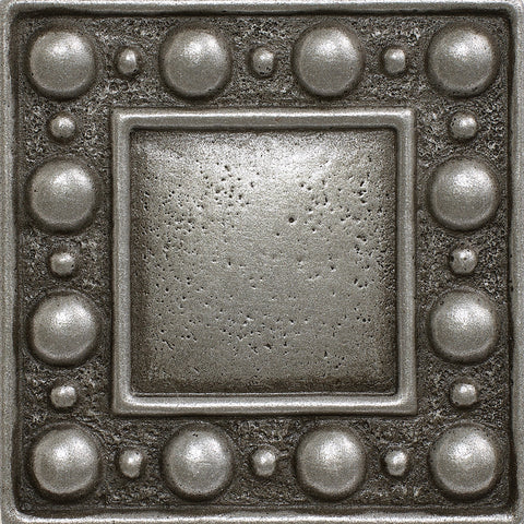 2 x 2 Dots Decorative Metal Insert - Pewter - DEKO Tile