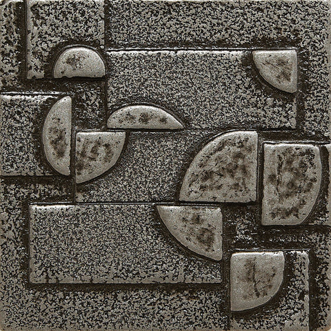 2 x 2 Planets Decorative Metal Insert - Pewter - DEKO Tile