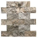 2 x 4 Silver Travertine Splitface Mosaic Tile - DEKO Tile