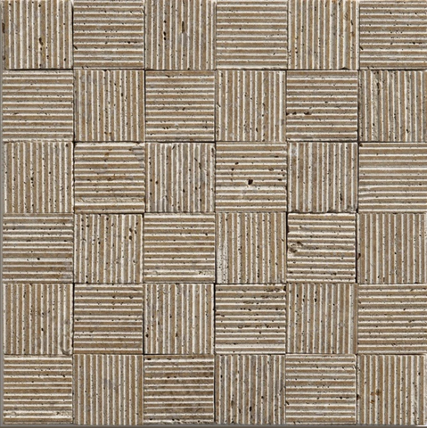 "2""X2"" Textured Mosaic In Noce Travertine - Thick-Rolled"