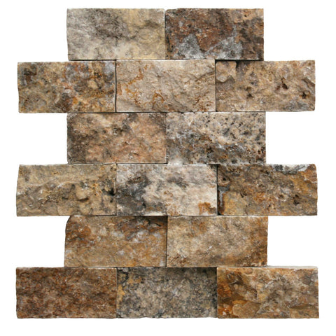 2 x 4 Scabos Travertine Splitface Mosaic Tile - DEKO Tile