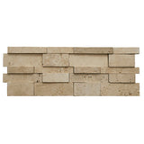 3D Hi-Low Ivory Travertine Honed Split Face Mosaic Ledger Panel - DEKO Tile