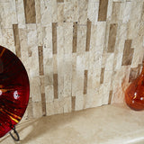 3D Hi-Low Ivory and Noce Travertine Honed Mosaic Split Face Ledger Panel - DEKO Tile