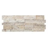 3D Hi-Low Ivory Travertine Split Face Mosaic Ledger Wall Panel - DEKO Tile