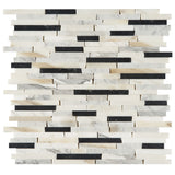 3/8 Random Brick Pattern Polished Italian Calacatta Gold and Nero Marquina Mosaic Tile - DEKO Tile