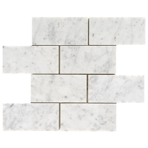 3 x 6 Honed Italian Bianco Carrara Mosaic Tile - DEKO Tile