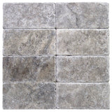 3 x 6 Silver Tumbled Travertine Tile
