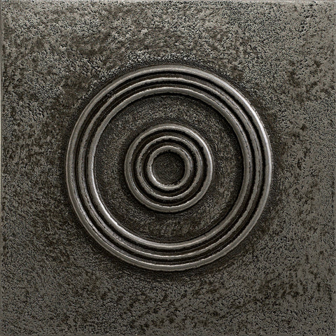 4 x 4 Circles Decorative Metal Insert - Pewter - DEKO Tile