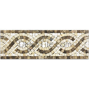 Tumbled Emperador Dark, Emperador Light and Crema Marfil Mosaic Border - DEKO Tile