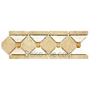 Tumbled Walnut, Ivory and Yellow Travertine Border - DEKO Tile