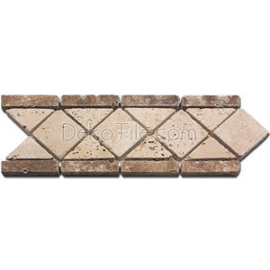 Tumbled Ivory and Noce Travertine Listello Arrow Border - DEKO Tile