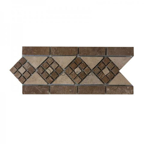 4 X 12 TUMBLED ARROW BORDER IN NOCE AND IVORY CLASSIC TRAVERTINE - DEKO Tile