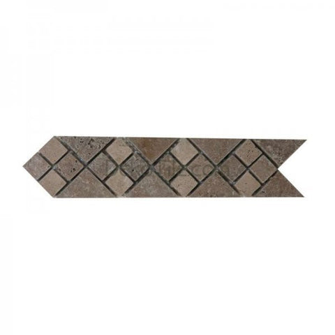 "2 3/4"" X 12"" TUMBLED ARROW BORDER IN NOCE AND IVORY CLASSIC TRAVERTINE - DEKO Tile"
