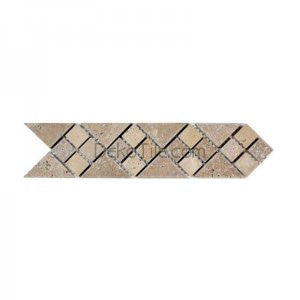 3 x 12 Tumbled Arrow Border in Noce and Ivory Classic Travertine - DEKO Tile