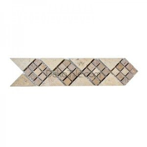 2 3/4 x 12 Tumbled Arrow Border in Noce and Ivory Classic Travertine - DEKO Tile