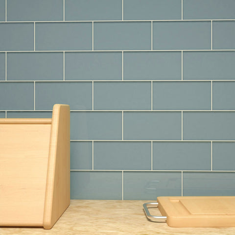 3 x 6 Glass Subway Tile - Slate - DEKO Tile