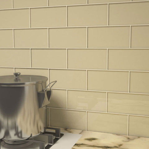 3 x 6 Glass Subway Tile - Light Taupe - DEKO Tile