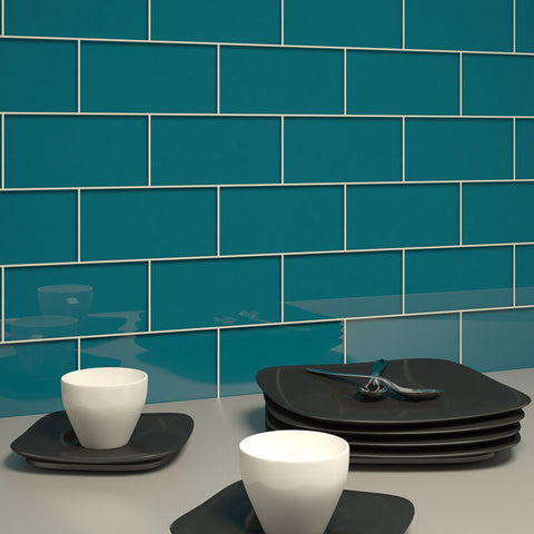 3 x 6 Glass Subway Tile - Dark Teal - DEKO Tile