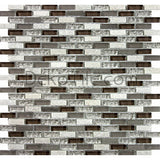 3/8x1 1/8 Quartzite, Aluminum and Glass Mix Mosaic - Fawn Blend  - DEKO Tile