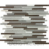 3/8 x Multiple Length Quartzite, Aluminum and Glass Mix Mosaic - Fawn Blend - DEKO Tile