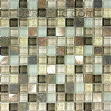 1 x 1 Slate, Aluminum and Glass Mix Mosaic - Verbena Blend - DEKO Tile