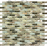3/8x1 1/8 Slate, Aluminum and Glass Mix Mosaic - Verbena Blend  - DEKO Tile