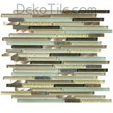 3/8 x Multiple Length Slate, Aluminum and Glass Mix Mosaic - Verbena Blend - DEKO Tile