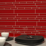 Metro Pattern Glass Mosaic Collection - Red Velvet - DEKO Tile