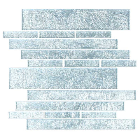 Metro Pattern Glass Mosaic Collection - Iridescent Silver - DEKO Tile
