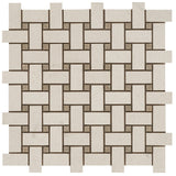 Honed Champagne Limra and Seagrass Limestone Basketweave Mosaic Tile - DEKO Tile