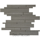 Metro Pattern Mosaic - Brown Gray and Silver Lines - DEKO Tile