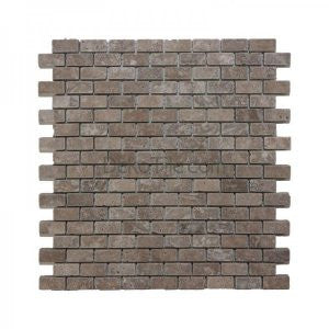 5/8 x 1 1/4 Brick Tumbled Noce Travertine Mosaic - DEKO Tile