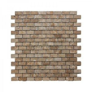 5/8 x 1 1/4 Brick Tumbled Yellow Travertine Mosaic - DEKO Tile