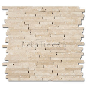 3/8 Random Brick Pattern Polished Turkish Crema Marfil Marble Mosaic Tile - DEKO Tile