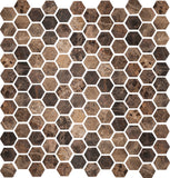 1 inch Hexagon Polished Emperador Dark Mosaic Tile - DEKO Tile
