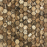 1 inch Hexagon Tumbled Emperador Dark Mosaic Tile - DEKO Tile