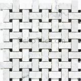 Italian Bianco Carrara and Nero Marquina Honed Basketweave Mosaic Tile - DEKO Tile