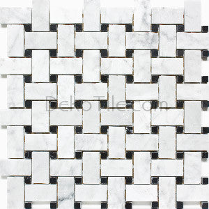 Italian Bianco Carrara and Nero Marquina Polished Basketweave Mosaic Tile - DEKO Tile