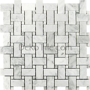 Polished Bianco Carrara Basketweave Mosaic Tile - DEKO Tile