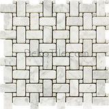 Tumbled Bianco Carrara Basketweave Mosaic Tile - DEKO Tile