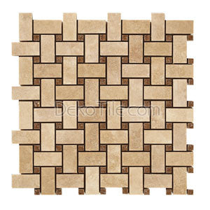 Honed and Filled Ivory Classic and Noce Travertine Basketweave Mosaic Tile - DEKO Tile