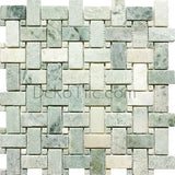 Tumbled Ming Green Basketweave Mosaic Tile - DEKO Tile