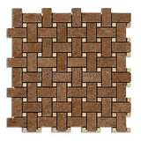 Honed and Filled Noce and Ivory Classic Basketweave Mosaic Tile - DEKO Tile