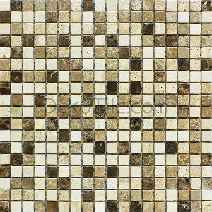 5/8 x 5/8 Emperador Marble, Crema Marfil and Light Travertine Mix Tumbled Mosaic - DEKO Tile