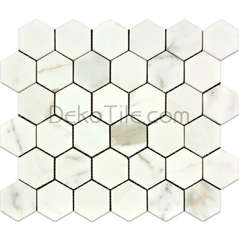2 inch Hexagon Polished Italian Calacatta Gold Mosaic Tile - DEKO Tile